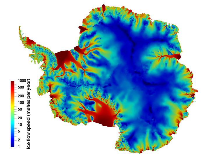 Antarctic Ice flow simulated by Elmer/Ice ( Image: Rupert Gladstone)